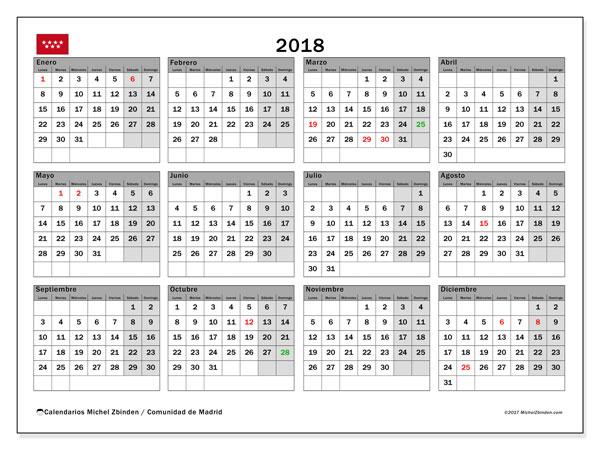 Calendario 2018, con los días festivos de la Comunidad de Madrid. Calendario mensual para imprimir gratis.
