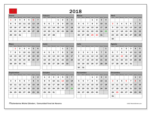Calendario 2018, con los días festivos para la Comunidad Foral de Navarra. Calendario para imprimir gratis.
