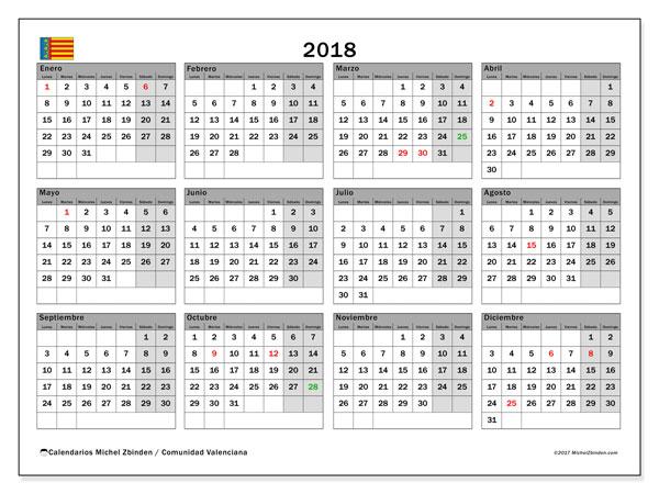 Calendario 2018, con los días festivos de la Comunidad Valenciana. Calendario para imprimir gratis.