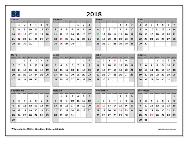 Calendario 2018, con los días feriados en Dakota del Norte. Calendario para el mes para imprimir gratis.