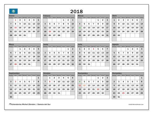 Calendario 2018, con los días feriados de Dakota del Sur. Planificación para imprimir gratis.