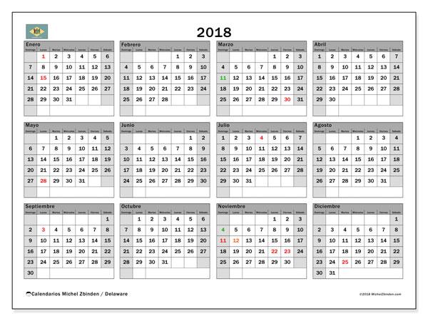Calendario 2018, con los días feriados de Delaware. Calendario imprimible gratis.