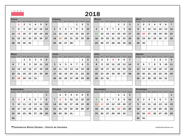 Calendario 2018, con los días feriados del Distrito de Columbia. Calendario para imprimir gratis.