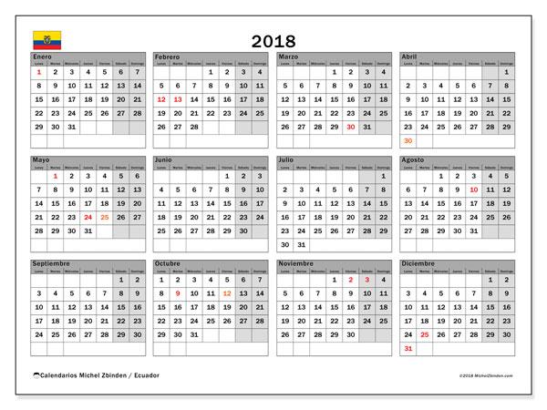Calendario 2018, con los días feriados para Ecuador. Calendario gratuito para imprimir.