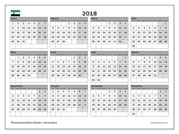 Calendario 2018, con los días festivos de Extremadura. Almanaque para imprimir gratis.