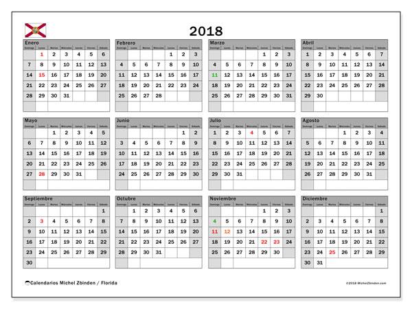 Calendario 2018, con los días feriados en Florida. Calendario gratuito para imprimir.