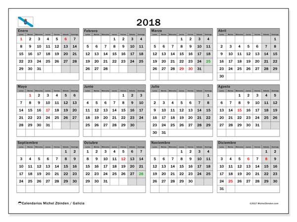 Calendario 2018, con los días festivos en Galicia. Calendario mensual para imprimir gratis.