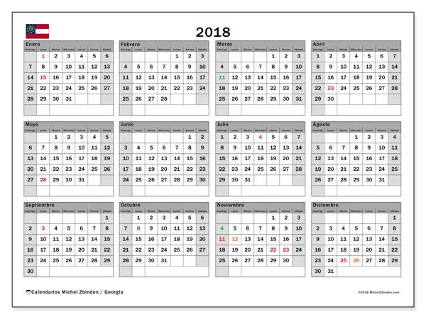 Calendario 2018, con los días feriados de Georgia. Planificación para imprimir gratis.
