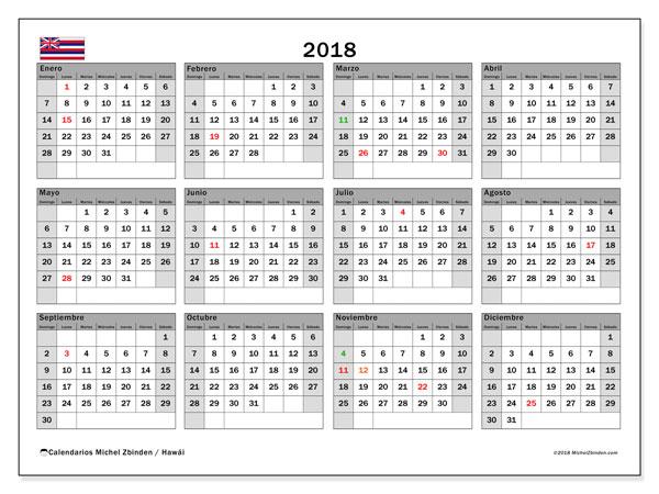 Calendario 2018, con los días feriados en Hawái. Calendario mensual para imprimir gratis.