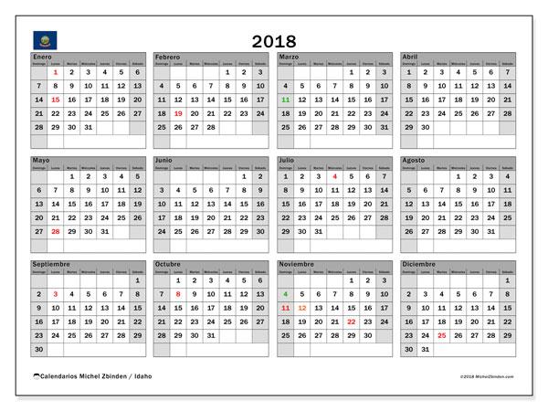 Calendario 2018, con los días feriados de Idaho. Calendario para imprimir gratis.
