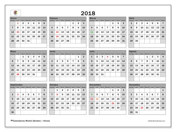Calendario 2018, con los días feriados en Illinois. Calendario imprimible gratis.