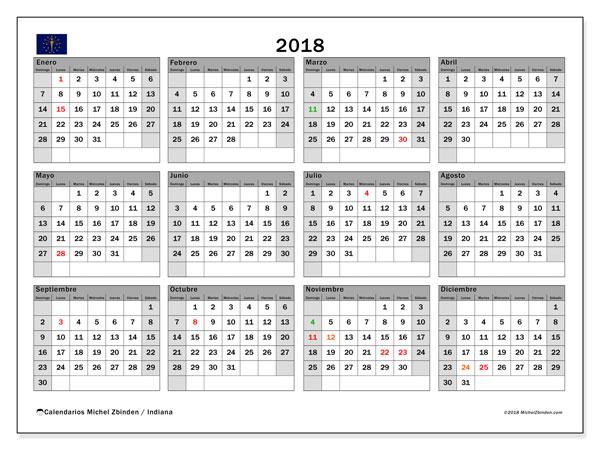 Calendario 2018, con los días feriados de Indiana. Planificación para imprimir gratis.