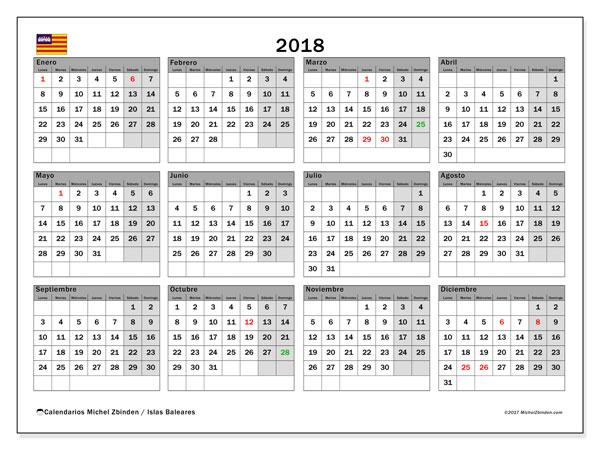 Calendario 2018, con los días festivos de las Islas Baleares. Calendario gratuito para imprimir.
