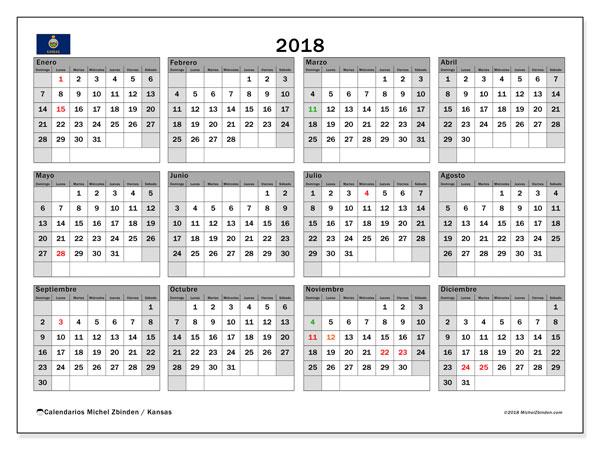 Calendario 2018, con los días feriados en Kansas. Calendario para imprimir gratis.