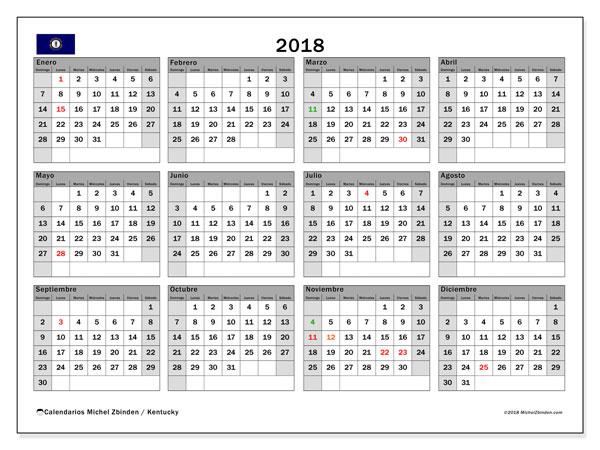 Calendario 2018, con los días feriados en Kentucky. Calendario para imprimir gratis.