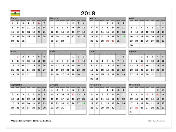 Calendario 2018, con los días festivos de La Rioja. Almanaque para imprimir gratis.