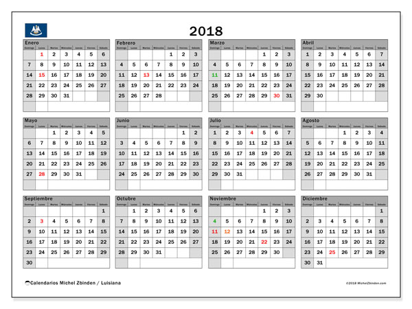 Calendario 2018, con los días feriados en Luisiana. Calendario gratuito para imprimir.