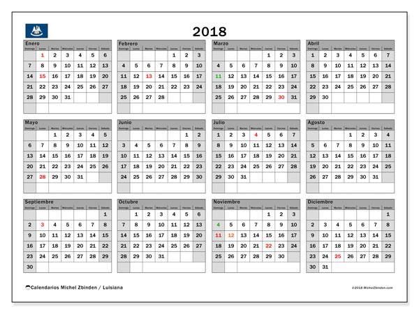 Calendario 2018, con los días feriados en Luisiana. Calendario imprimible gratis.