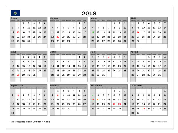 Calendario 2018, con los días feriados en Maine. Calendario para el mes para imprimir gratis.