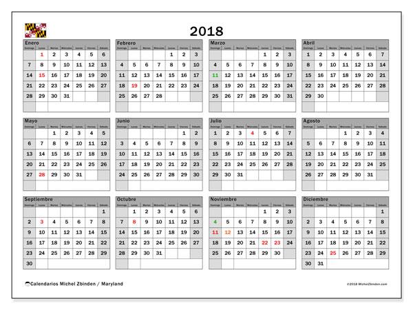 Calendario 2018, con los días feriados en Maryland. Calendario para imprimir gratis.