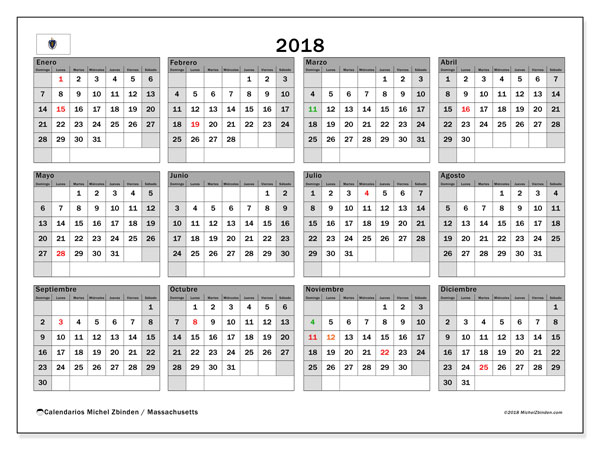Calendario 2018, con los días feriados en Massachusetts. Almanaque para imprimir gratis.