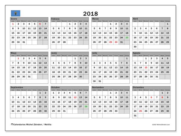 Calendario 2018, con los días festivos de Melilla. Almanaque para imprimir gratis.
