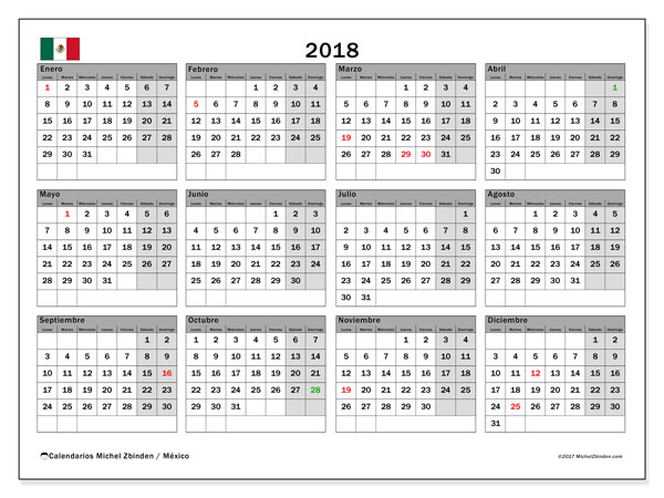 Calendario 2018, con los días feriados en México. Calendario gratuito para imprimir.