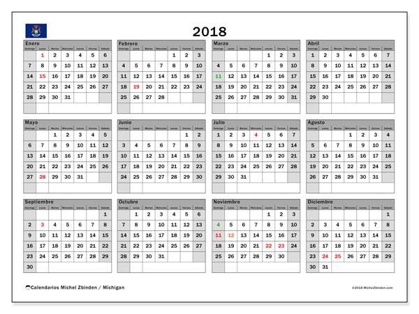 Calendario 2018, con los días feriados en Míchigan. Calendario para el mes para imprimir gratis.