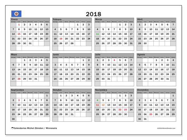 Calendario 2018, con los días feriados de Minnesota. Planificación para imprimir gratis.