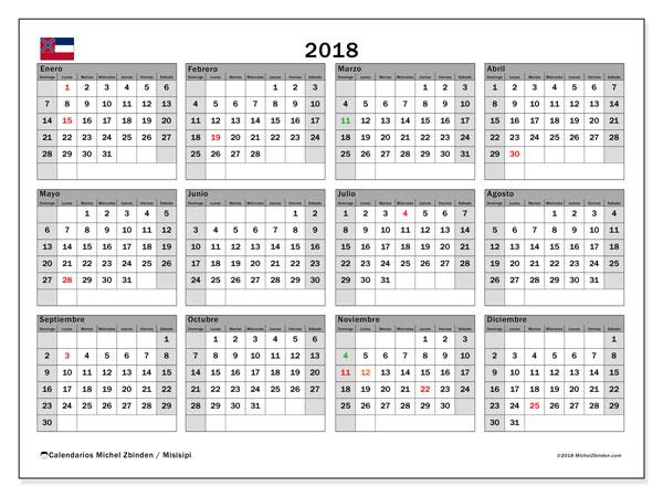 Calendario 2018, con los días feriados de Misisipi. Calendario para imprimir gratis.