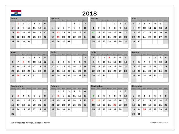 Calendario 2018, con los días feriados de Misuri. Planificación para imprimir gratis.