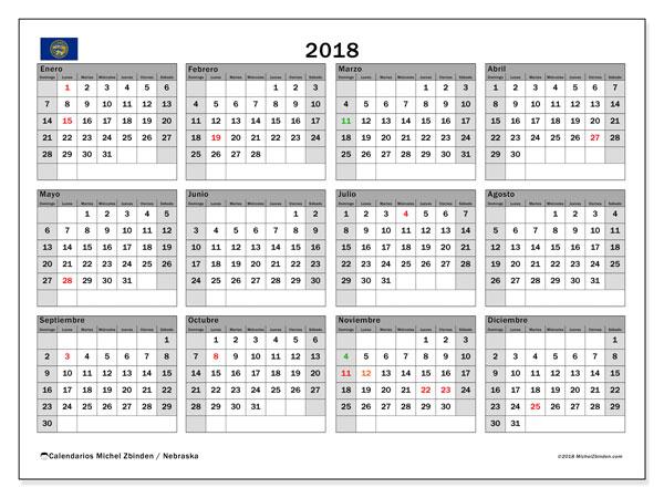 Calendario 2018, con los días feriados en Nebraska. Calendario imprimible gratis.