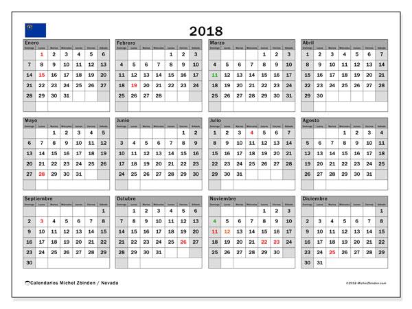 Calendario 2018, con los días feriados en Nevada. Calendario mensual para imprimir gratis.