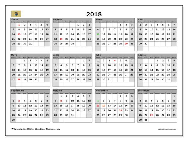 Calendario 2018, con los días feriados de Nueva Jersey. Calendario gratuito para imprimir.