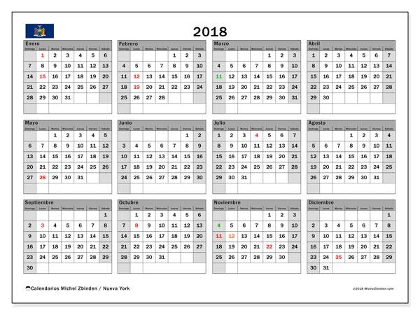 Calendario 2018, con los días feriados de Nueva York. Planificación para imprimir gratis.
