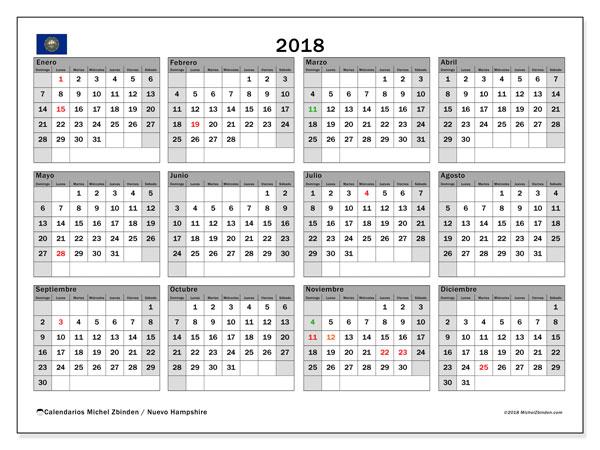 Calendario 2018, con los días feriados de Nuevo Hampshire. Calendario para el mes para imprimir gratis.