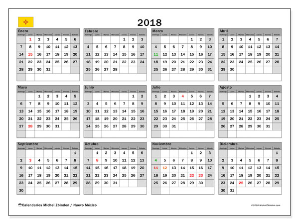 Calendario 2018, con los días feriados en Nuevo México. Calendario para imprimir gratis.