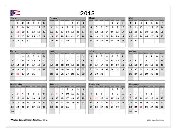 Calendario 2018, con los días feriados en Ohio. Planificación para imprimir gratis.