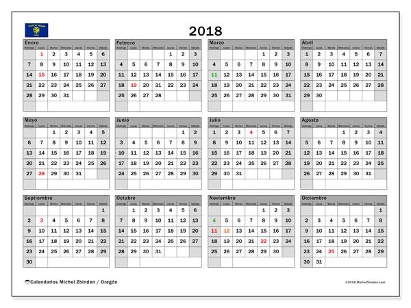 Calendario 2018, con los días feriados en Oregón. Calendario para imprimir gratis.