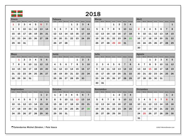Calendario 2018, con los días festivos del País Vasco. Calendario para el mes para imprimir gratis.