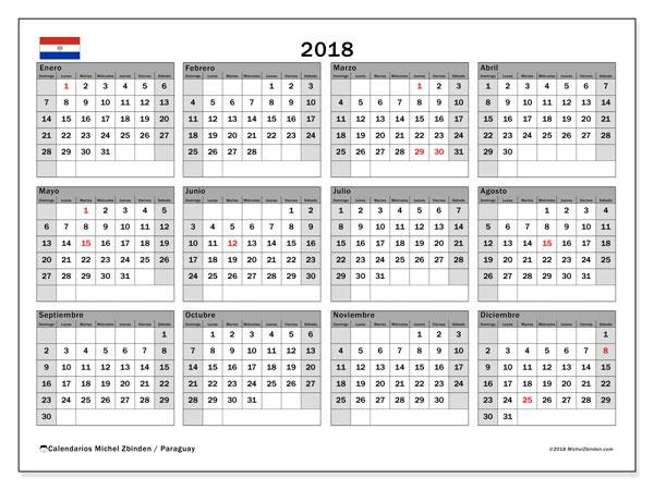 Calendario 2018, con los días feriados en Paraguay. Calendario imprimible gratis.