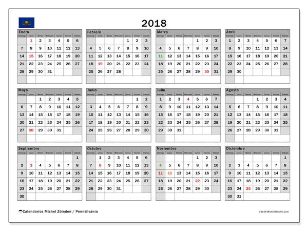 Calendario 2018, con los días feriados en Pennsilvania. Calendario mensual para imprimir gratis.