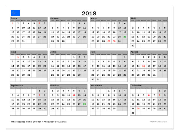 Calendario 2018, con los días festivos del Principado de Asturias. Almanaque para imprimir gratis.