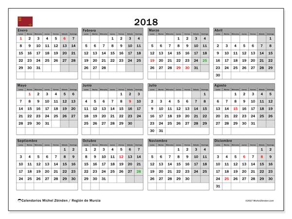 Calendario 2018, con los días festivos en la Región de Murcia. Calendario imprimible gratis.