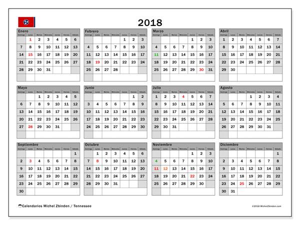 Calendario 2018, con los días feriados en Tennessee. Calendario para el mes para imprimir gratis.