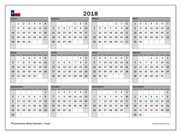 Calendario 2018, con los días feriados en Texas. Calendario gratuito para imprimir.