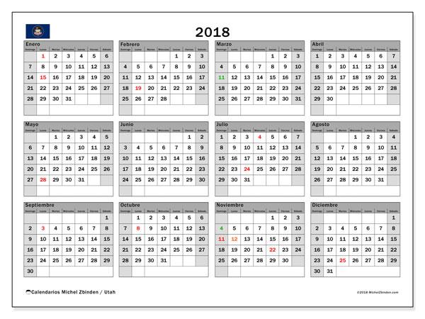Calendario 2018, con los días feriados en Utah. Calendario mensual para imprimir gratis.