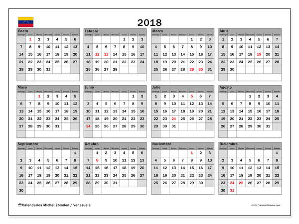 Calendario 2018, con los días feriados para Venezuela. Almanaque para imprimir gratis.