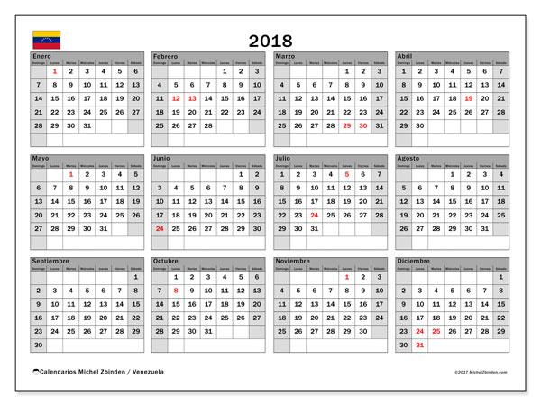 Calendario 2018, con los días feriados para Venezuela. Calendario imprimible gratis.