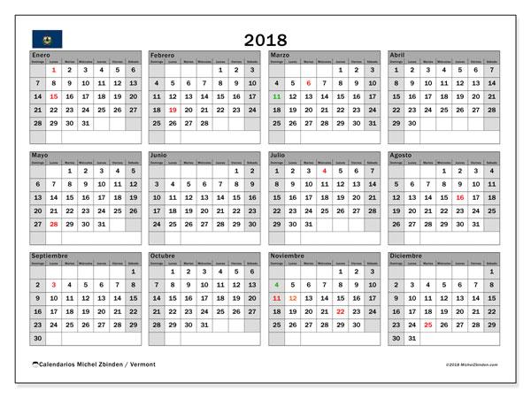 Calendario 2018, con los días feriados en Vermont. Calendario gratuito para imprimir.